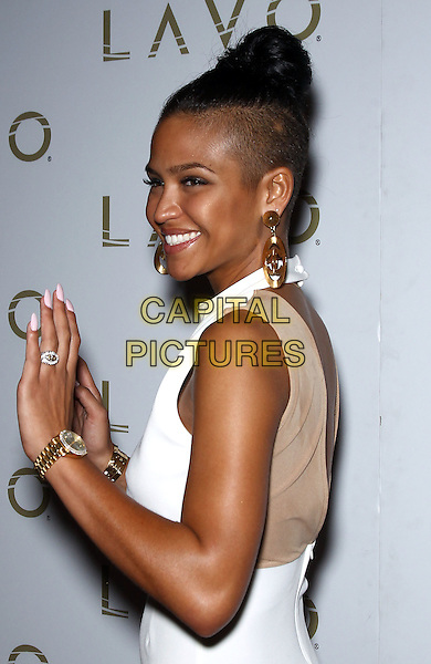 Cassie (Casandra Elizabeth Ventura) .hosts King of Hearts party at Lavo inside The Palazzo Las Vegas, Nevada, USA, half length hands side sleeveless dress mesh ring watch wrist nails  smiling white gold  shaved head hair up earrings chanel logo .CAP/ADM/MJT.© MJT/AdMedia/Capital Pictures.
