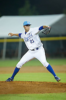 Burlington Royals relief pitcher Alex Luna (21) in action against the Bluefield Blue Jays at Burlington Athletic Park on July 1, 2015 in Burlington, North Carolina.  The Royals defeated the Blue Jays 5-4. (Brian Westerholt/Four Seam Images)