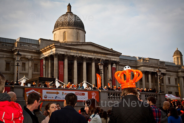 London, 16/04/2011. Thousands of people dressing up in orange, the Dutch national colour, gathered in Trafalgar Square to attend the festival organised in honour of the Dutch Queen's birthday.