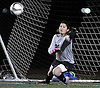 Carle Place goalie Gianna Marasco reacts to a penalty kick during the Nassau County varsity girls' soccer Class C final against Wheatley at Cold Spring Harbor High School on Tuesday, November 3, 2015.<br /> <br /> James Escher