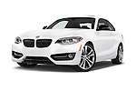 Stock pictures of low aggressive front three quarter view of a 2015 BMW 2 Series 228I Sport 2 Door Coupe 2WD Low Aggressive