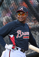 Andruw Jones of the Atlanta Braves vs. the St. Louis Cardinals March 16th, 2007 at Champion Stadium in Orlando, FL during Spring Training action.  Photo By Mike Janes/Four Seam Images