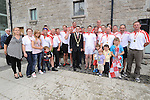 The Oars of hope crew pictured with mayor of Drogheda Kevin Callan after they rowed from the Isle of Man. Photo: www.colinbellphotos.com