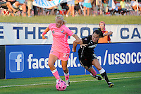 Ali Riley (3) of the Western New York Flash battles Alyssa Mautz (33) of Sky Blue FC for the ball. The Western New York Flash defeated Sky Blue FC 2-0 during a Women's Professional Soccer (WPS) match at Yurcak Field in Piscataway, NJ, on July 17, 2011.