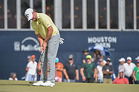 Robert Garrigus (USA) watches his putt on 18 during round 4 of the Houston Open, Golf Club of Houston, Houston, Texas. 4/1/2018.<br /> Picture: Golffile | Ken Murray<br /> <br /> <br /> All photo usage must carry mandatory copyright credit (&copy; Golffile | Ken Murray)