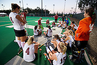 STANFORD, CA - September 3: Head Coach Tara Danielson talks to her team  during a field hockey match against UC Davis, September 3, 2010 in Stanford, California. Stanford won 3-1.