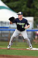 Vermont Lake Monsters first baseman John Nogowski (8) waits for a throw during a game against the Jamestown Jammers on July 12, 2014 at Russell Diethrick Park in Jamestown, New York.  Jamestown defeated Vermont 3-2.  (Mike Janes/Four Seam Images)