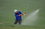 AUGUSTA, GA - APRIL 13: Angel Cabrera of Argentina hits out of the bunker during the Third Round of the 2013 Masters Golf Tournament at Augusta National Golf Club on April 13, 2013 in Augusta, Georgia. (Photo by Donald Miralle) *** Local Caption ***