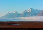 Exposed Lakebed and Morning Fog over North Jackson Lake, Teewinot, Grand Teton, Mount Moran, Grand Teton National Park, Wyoming