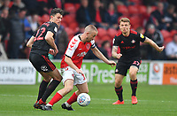 Fleetwood Town's Paddy Madden battles for the ball with Sunderland's Tom Flanagan<br /> <br /> Photographer Dave Howarth/CameraSport<br /> <br /> The EFL Sky Bet League One - Fleetwood Town v Sunderland - Tuesday 30th April 2019 - Highbury Stadium - Fleetwood<br /> <br /> World Copyright © 2019 CameraSport. All rights reserved. 43 Linden Ave. Countesthorpe. Leicester. England. LE8 5PG - Tel: +44 (0) 116 277 4147 - admin@camerasport.com - www.camerasport.com