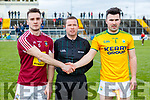 Referee Barry McCann with Aonghus Clarke Westmeath and Martin Stackpoole Kerry before the Allianz Hurling League 2A at Austin Stack Park on Sunday.