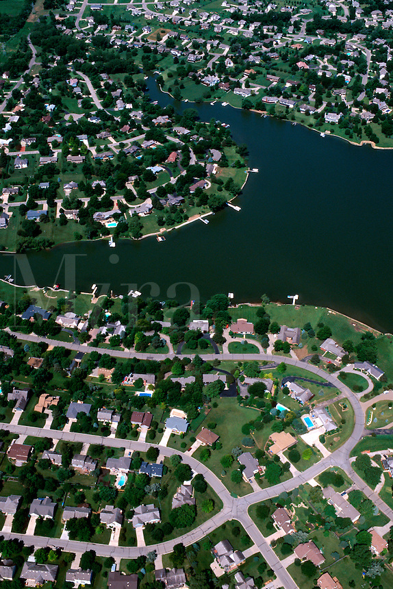 Aerial view of a lakefront suburban neighborhood. Topeka, Kansas.