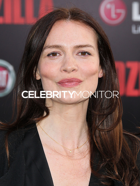 "HOLLYWOOD, LOS ANGELES, CA, USA - MAY 08: Saffron Burrows at the Los Angeles Premiere Of Warner Bros. Pictures And Legendary Pictures' ""Godzilla"" held at Dolby Theatre on May 8, 2014 in Hollywood, Los Angeles, California, United States. (Photo by Xavier Collin/Celebrity Monitor)"