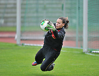 20131013 - BAMBERG , GERMANY : Belgian goalkeeper Ines Fernandez Gonzalez  pictured during the female soccer match between Switzerland Women U17 and Belgium U17 , in the second game of the Elite round in group 6 in the UEFA European Women's Under 17 competition 2013 in the Fuchs Park Stadion - Bamberg  Sunday 13 October 2013. PHOTO DAVID CATRY