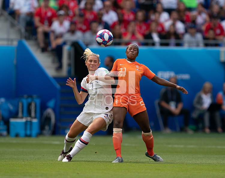 LYON, FRANCE - JULY 07: Abby Dahlkemper #7 during the 2019 FIFA Women's World Cup France final match between the Netherlands and the United States at Stade de Lyon on July 07, 2019 in Lyon, France.