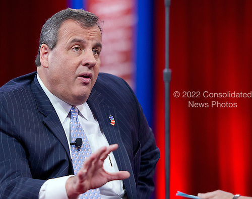 Governor Chris Christie (Republican of New Jersey) speaks at the Conservative Political Action Conference (CPAC) at the Gaylord National at National Harbor, Maryland on Thursday, February 26, 2015.<br /> Credit: Ron Sachs / CNP
