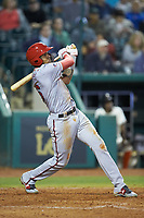 Gilbert Lara (6) of the Hagerstown Suns follows through on a 2-run home run against the Greensboro Grasshoppers at First National Bank Field on April 6, 2019 in Greensboro, North Carolina. The Suns defeated the Grasshoppers 6-5. (Brian Westerholt/Four Seam Images)