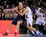 BARCELONA, SPAIN, BALONCESTO   29/11/2013<br /> Partido de Euroleague entre el Barcelona y el Fenerbahce  <br /> <br /> En imagen Maciej Lampe<br /> y Ilkan Karaman . FOTOS PEP DALMAU