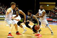 GRONINGEN - Basketbal, Donar - ZZ Leiden, Martiniplza, Halve finale NBB beker, seizoen 2018-2019, 13-02-2019, Leiden speler Maurice Watson Jr met Donar speler Thomas Koenes