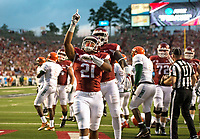 Hawgs Illustrated/BEN GOFF <br /> Devwah Whaley (21), Arkansas running back, celebrates after scoring to a touchdown in the first quarter Thursday, Aug. 31, 2017, during the game at War Memorial Stadium in Little Rock.