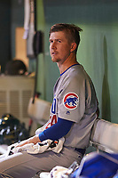 Mesa Solar Sox starting pitcher Alec Mills (24), of the Chicago Cubs organization, watches the action on the field during an Arizona Fall League game against the Scottsdale Scorpions on October 23, 2017 at Scottsdale Stadium in Scottsdale, Arizona. The Solar Sox defeated the Scorpions 5-2. (Zachary Lucy/Four Seam Images)