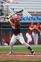 Batavia Muckdogs designated hitter Angel Reyes (30) at bat during a game against the Auburn Doubledays on September 7, 2015 at Falcon Park in Auburn, New York.  Auburn defeated Batavia 11-10 in ten innings.  (Mike Janes/Four Seam Images)