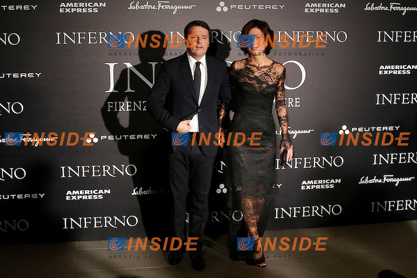 Matteo Renzi con la moglie Agnese Landini<br /> Firenze 08-10-2016. 'Inferno' Anteprima Mondiale.<br /> Florence 8th October 2016. 'Inferno' World Premiere.<br /> Foto Samantha Zucchi Insidefoto
