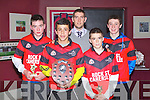 GAMES: Kerry footballer Cillian Young with some of the winners at the Rock Street/Caherslee community games awards night at O'Donnell's restaurant and bar, Tralee on Friday l-r: Philip Quilter, Louis Ryle, Cillian Young, Oisin Fitzgerald and Cathal O'Reilly.