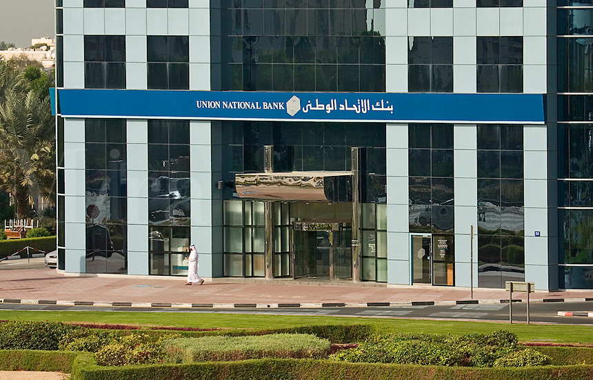 Dubai, United Arab Emirates. Union National Bank on Sheikh Zayed Road/Abu Dhabi Road..