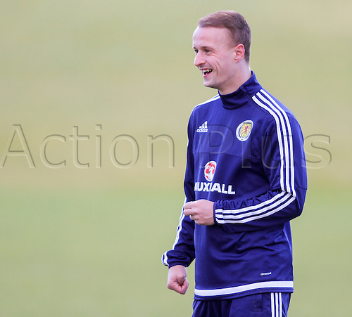 28.03.2016. Mar Hall, Glasgow, Scotland. International Football Scotland Training and Media Event. Leigh Griffiths is all smiles during training