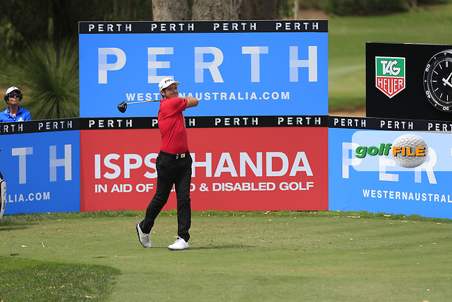 Julien Quesne (FRA) on the 18th tee during Round 3 of the ISPS HANDA Perth International at the Lake Karrinyup Country Club on Saturday 25rd October 2014.<br /> Picture:  Thos Caffrey / www.golffile.ie