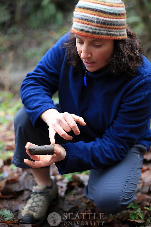 02022013- Environmental Science professor Lyn Gualtievis's field methods class in the woods on Mercer Island.