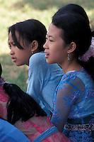 Balinese Girls Watching Soccer Match, Ubud, Bali, Indonesia