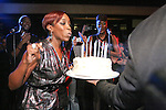 Singer, Estelle blows birthday cake, during the 360 Induced Executive Mixer, hosted by Ne-Yo at Millesime NYC, January 19, 2011.