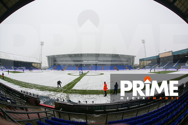 A general view of Boundary Park, as full of snow, home of Oldham Athletic FC the Sky Bet League 1 match between Oldham Athletic and Northampton Town at Boundary Park, Oldham, England on 9 December 2017. Photo by Juel Miah / PRiME Media Images.