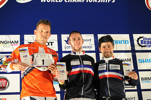 05.27.2012. England, Birmingham, National Indoor Arena. UCI BMX World Championships. Podium trio for the Cruisers Men 30 - 34 Finals at the NIA. ..Dorus Brink (Nederland) 1st..Johnathan Roy (France) 2nd..Mickael Grouzal (France) 3rd....
