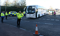 Cardiff City fans arrive at the liberty stadium under heavy police escort <br /> <br /> Photographer Ian Cook/CameraSport<br /> <br /> The EFL Sky Bet Championship - Swansea City v Cardiff City - Sunday 27th October 2019 - Liberty Stadium - Swansea<br /> <br /> World Copyright © 2019 CameraSport. All rights reserved. 43 Linden Ave. Countesthorpe. Leicester. England. LE8 5PG - Tel: +44 (0) 116 277 4147 - admin@camerasport.com - www.camerasport.com