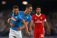 Calcio, Champions League Gruppo B: Napoli vs Benfica. Napoli, stadio San Paolo, 28 settembre 2016. <br /> Napoli's Dries Mertens, left, celebrates with his teammate Arkadiusz Milik after scoring his second goal during the Champions League Group B soccer match between Napoli and Benfica at the Naples' San Paolo stadium, 28 September 2016. Napoli won 4-2.<br /> UPDATE IMAGES PRESS/Isabella Bonotto