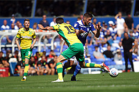 Lukas Jutkiewicz of Birmingham City under pressure from Timm Klose of Norwich City during Birmingham City vs Norwich City, Sky Bet EFL Championship Football at St Andrews on 4th August 2018
