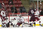Jake Horton (Harvard - 91), Darcy Murphy (Colgate - 15), Merrick Madsen (Harvard - 31), Clay Anderson (Harvard - 5), Tylor Spink (Colgate - 18) -  - The Harvard University Crimson defeated the visiting Colgate University Raiders 7-4 (EN) on Saturday, February 20, 2016, at Bright-Landry Hockey Center in Boston, Massachusetts.