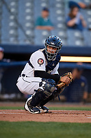 Connecticut Tigers catcher Gresuan Silverio (13) looks into the dugout during a game against the Hudson Valley Renegades on August 20, 2018 at Dodd Stadium in Norwich, Connecticut.  Hudson Valley defeated Connecticut 3-1.  (Mike Janes/Four Seam Images)