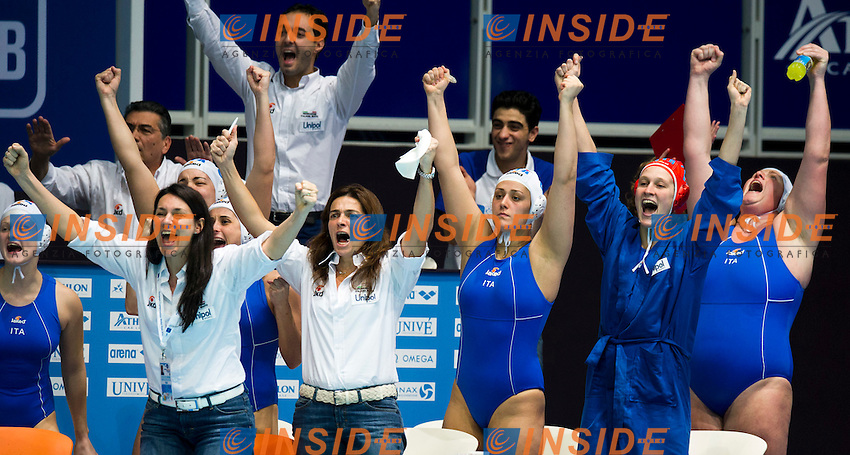Eindhoven , Netherlands (Netherlands) 16 - 29 January 2012.LEN European  Water Polo Championships 2012.Day 11 - Women.ITA (White) - RUS (Blue)..ITA.1 GIGLI Elena.2 ABBATE Simona.3 CASANOVA Elisa.4 AIELLO Rosaria.5 QUEIROLO Elisa.6 LAPI Allegra.7 di MARIO Tania.8 BIANCONI Roberta.9 EMMOLO Giulia Enrica.10 RAMBALDI GUIDASCI Giulia.11 COTTI Aleksandra.12 FRASSINETTI Teresa.13 GORLERO Giulia..Photo Insidefoto / Giorgio Scala