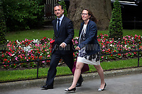 (From L to R) Alun Cairns MP (Secretary of State for Wales) &amp; Baroness Evans of Bowes Park (Leader of the House of Lords, Lord Privy Seal).<br /> <br /> London, 12/06/2017. Today, Theresa May's reshuffled Cabinet met at 10 Downing Street after the General Election of the 8 June 2017. Philip Hammond MP - not present in the photos - was confirmed as Chancellor of the Exchequer. <br /> After 5 years of the Coalition Government (Conservatives &amp; Liberal Democrats) led by the Conservative Party leader David Cameron, and one year of David Cameron's Government (Who resigned after the Brexit victory at the EU Referendum held in 2016), British people voted in the following way: the Conservative Party gained 318 seats (42.4% - 13,667,213 votes &ndash; 12 seats less than 2015), Labour Party 262 seats (40,0% - 12,874,985 votes &ndash; 30 seats more then 2015); Scottish National Party, SNP 35 seats (3,0% - 977,569 votes &ndash; 21 seats less than 2015); Liberal Democrats 12 seats (7,4% - 2,371,772 votes &ndash; 4 seats more than 2015); Democratic Unionist Party 10 seats (0,9% - 292,316 votes &ndash; 2 seats more than 2015); Sinn Fein 7 seats (0,8% - 238,915 votes &ndash; 3 seats more than 2015); Plaid Cymru 4 seats (0,5% - 164,466 votes &ndash; 1 seat more than 2015); Green Party 1 seat (1,6% - 525,371votes &ndash; Same seat of 2015); UKIP 0 seat (1.8% - 593,852 votes); others 1 seat. <br /> The definitive turn out of the election was 68.7%, 2% higher than the 2015.<br /> <br /> For more info about the election result click here: http://bbc.in/2qVyNRd &amp; http://bit.ly/2s9ob51<br /> <br /> For more info about the Cabinet Ministers click here: https://goo.gl/wmRYRd