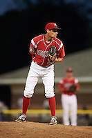 Batavia Muckdogs pitcher Cody Harris (35) looks in for the sign during a game against the Mahoning Valley Scrappers on June 23, 2015 at Dwyer Stadium in Batavia, New York.  Mahoning Valley defeated Batavia 11-2.  (Mike Janes/Four Seam Images)