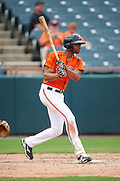 Bowie Baysox right fielder Henry Urrutia (5) at bat during the first game of a doubleheader against the Akron RubberDucks on June 5, 2016 at Prince George's Stadium in Bowie, Maryland.  Bowie defeated Akron 6-0.  (Mike Janes/Four Seam Images)