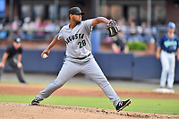 Augusta GreenJackets starting pitcher Norwith Gudino (28) delivers a pitch during a game against the Asheville Tourists at McCormick Field on August 18, 2018 in Asheville, North Carolina. The Tourists defeated the GreenJackets 14-3. (Tony Farlow/Four Seam Images)