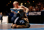 LA CROSSE, WI - MARCH 11: Riley Lefever of Wabash tangles up with Carlos Toribio of Ithaca in the 197 weight class during NCAA Division III Men's Wrestling Championship held at the La Crosse Center on March 11, 2017 in La Crosse, Wisconsin. Lefever beat Toribio by fall to win the national Championship.  (Photo by Carlos Gonzalez/NCAA Photos via Getty Images)