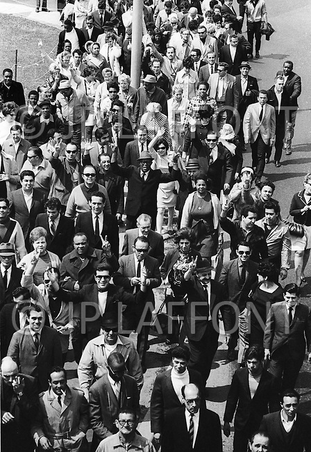 Queens, New York, June 1969 - Air traffic controllers' strike at JFK airport.