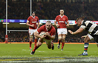 Wales Ken Owens scores his sides third try<br /> <br /> Photographer Ian Cook/CameraSport<br /> <br /> 2019 Autumn Internationals - Wales v Barbarians - Saturday 30th November 2019 - Principality Stadium - Cardifff<br /> <br /> World Copyright © 2019 CameraSport. All rights reserved. 43 Linden Ave. Countesthorpe. Leicester. England. LE8 5PG - Tel: +44 (0) 116 277 4147 - admin@camerasport.com - www.camerasport.com