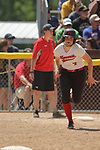 02 June 2017:  Madie Sims makes a tear for 3rd base on a hit and run.  Goreville Blackcats v Heyworth Hornets class 1A IHSA Class 1A Softball Semi-Final at Eastside Centre in East Peoria Illinois